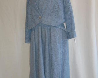 On Sale 1960's Robin's Egg Blue Dress and Matching Bolero Jacket Plus Size