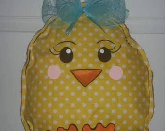 Spring Easter chick egg yellow burlap door hanger