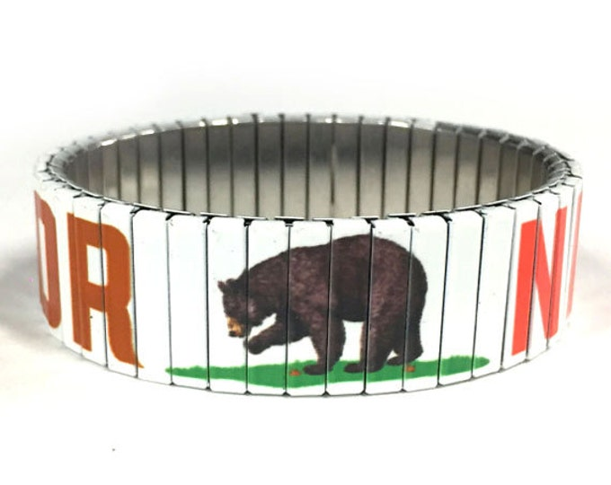California bear bracelet, California flag, Stretch, Repurpose Watch Band, Sublimation, Stainless Steel, Wrist Band, gift for friends