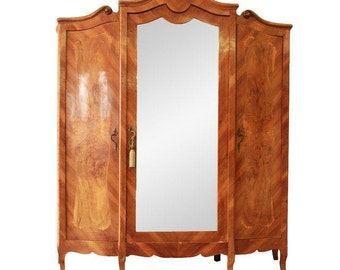 1870's Burled and Inlaid French Knockdown Wardrobe / Antique Armoire / Mirrored Wardrobe
