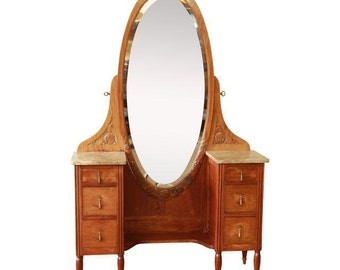 French Art Deco Marble Top Vanity & Mirror / 1930s French Carved Walnut Vanity