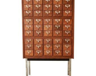 Mid-Century Oak Library Card Catalog Cabinet on Chrome Legs