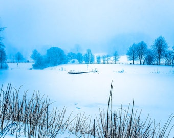 Photography, frozen lake with Jetty