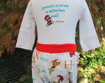 Romper and pants, baby's winter outfit, child's winter outfit, baby shower present, Dr Suess, The Cat in the Hat, hand-sewn, excellent value