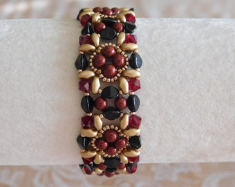 Beaded Bracelet Tutorial, Beading Pattern, Lady Jane Bracelet Tutorial, Beadweaving, Swarovski Bicone, Pinch Bead, Superduo, PDF