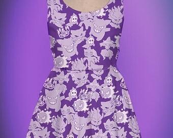 Ghost Pokemon Dress Pokemon Inspired Ghost Pokemon Skater Dress Ghost Type Pokemon Dress Nintendo *MADE 2 ORDER* Sz XS through 5XL