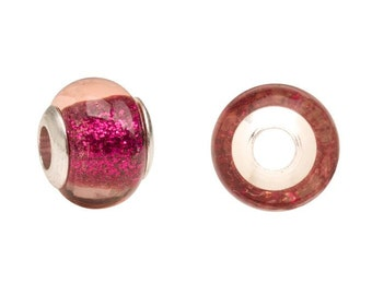 Pink speckled glass Pandora Style beads Fits Pandora Style Bracelet / Necklace large hole beads 11x13.5mm 4pcs
