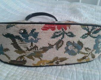 Vintage authentic carpet purse-shoulder length embroidered purse with leather trim-excellent condition