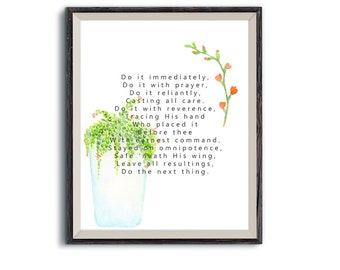 Do The Next Thing | Elisabeth Elliot | Encouraging Quote | Printable Wall Art Christian Decor | Succulent plants