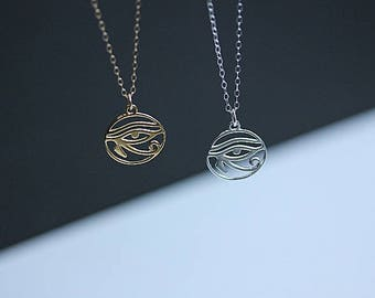Egyptian EYE of HORUS Necklace - Eye of RA Necklace in Gold Filled - Protection Necklace - Yoga Jewelry - Gift for her