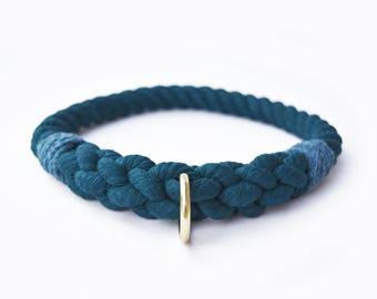 Custom Teal Rope Slip-On Dog Collar
