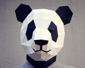 Papercraft panda mask - printable DIY template