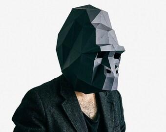 Gorilla Mask, Paper Mask, Animal Mask, DIY printable Animal Head, Instant Pdf download, Printable Paper Mask, 3D Pattern, Polygon Masks