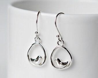 Silver bird earrings, sterling silver, little bird, silver teardrop earrings, stocking stuffer, bird jewelry, little girl gift - Wren