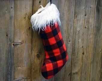 Christmas sock // Red and black plaid
