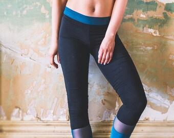 ON SALE Leggings, Black and Green Bamboo/ Sportswear/ Activewear/ Sport / Yoga / organic / ethical / crop top/ dance, organic, loungepant, p