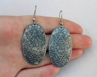 Vintage Boho Pewter Earrings