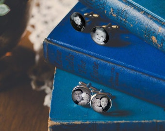 Groomsmen Gifts - Wedding Silver Photo Cufflinks - Set of 3 - Unique Gift for Best Man, Father of the Bride, Husband, etc.