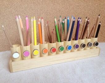 Porte crayon en bois Montessori, couleur tri, vie pratique, cadeau enfant, adulte porte crayon Coloriage, organisateur de bois desc