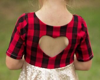 Girls Sequins Dress, valentines Dress, Party Dress, Plaid and Sequins Dress, Heart back dress, Birthday Dress, Sequins Skirt