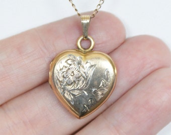 Vintage 12k GOLD Filled Violets Heart Photo Locket Necklace Pendant & Chain 1950s Gifts for Her Jewellery Jewelry Personalized Anniversary