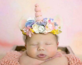 """Newborn and Beyond """"Magic Unicorn"""" Crown/Tieback with Hand Felted Uni-horn and Ears in Soft Pastels"""