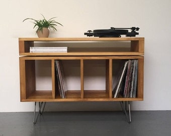 Stacked Sonor TV, Media Console, Vinyl Record Storage, Solid Wood on Mid Century Hairpin Legs.