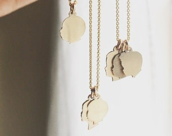 Custom Silhouette Charms Tiny Charm Necklace 14K Gold Filled or Sterling Silver Silhouette Necklace From your photos Dainty Gold Necklace