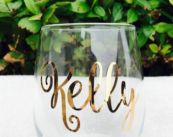 Personalized Stemless Wine Glasses/Personalized Glass/Rose Gold Glass/Bridesmaid Gift/Wedding Favors/Bachelorette Party/Bridal Party Favors