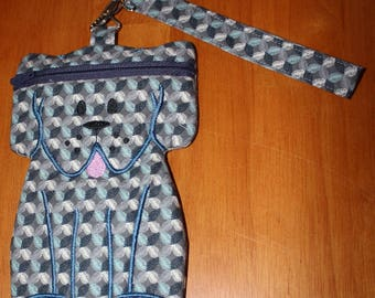 Puppy-themed Zipper Pouch or Wristlet - with Wrist Strap