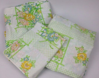 Vintage Full Bed Sheet Set Fitted Flat Pillowcase Cannon Monticello Lattice Floral