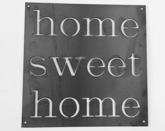 Home Sweet Home - metal wall art - metal wall decor - rustic metal art - shabby chic wall decor - fixer upper decor - fixer upper metal sign