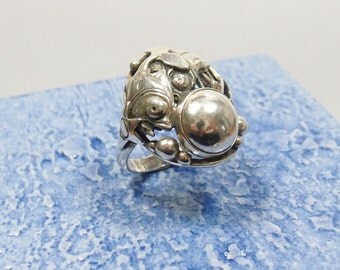 Vintage Filigree Sterling (925) Silver Fish Ring