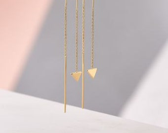 Triangle Detail Chain Earrings in Gold