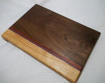 Walnut, Ash, Purpleheart & Padauk Cutting Board