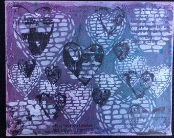 8x10 mixed media canvas hearts love brick purple