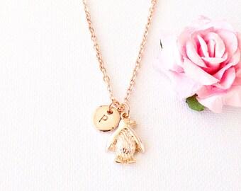 Rose gold penguin necklace, penguin pendant,penguin necklace, rose gold penguin jewellery, penguin, penguins gift,gift for mother,RGPEIN0217