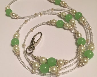 Green Aventurine Bead and Cream Glass Pearl Beaded Lanyard ID Badge/card holder
