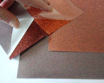 2 sheets of glitter glamour HTV with real glitter particles for extra ordinary effects, orange and bronze,  8 1/4'x11 1/2'