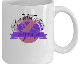 Green planet white coffee mug. Funny Green planet gift