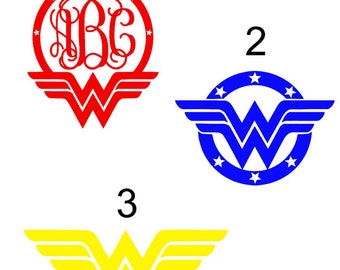 Wonder Woman vinyl decals with or without monogram
