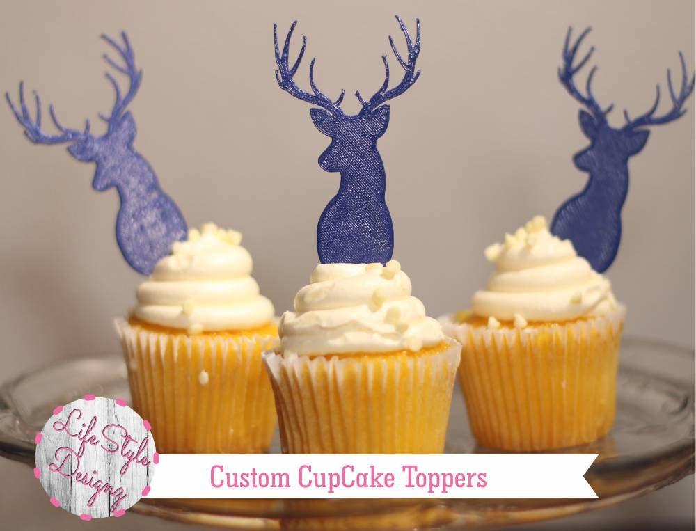 deer cupcake toppers antlers baby shower decor birthday