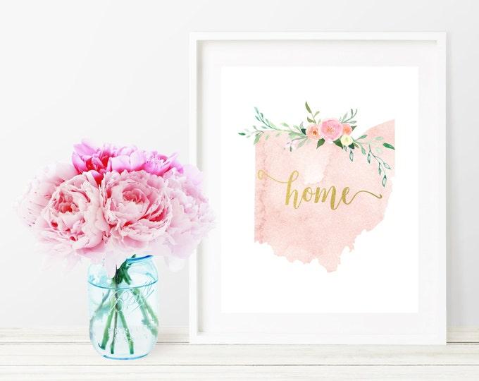 Ohio State Silhouette Art Print, Pink Watercolor Map Printable Home Nursery Decor, Floral Wall Art, Gold 8x10 Art Print, Dorm Decor