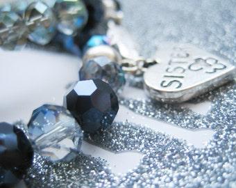 "sister charm bracelet 6.5"" 17cm blue black faceted czech glass bead stretchy bracelet gift for her beautiful pretty gift birthday wedding"