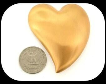 Vintage Signed MONET Modern Design Heart Matte Gold Plated BROOCH 1980