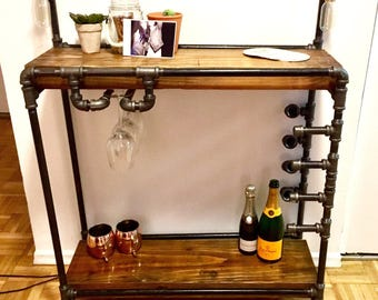 Industrial Iron Pipe Bar Cart with Wine Glass and Bottle Storage
