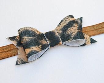Felt Bow Headbands, Headband, Felt Headband, Bow, Hair clip, felt bow, bow clip, animal print, headband. black, brown