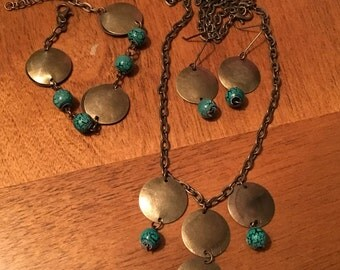 Antiqued bronze circles and bead set