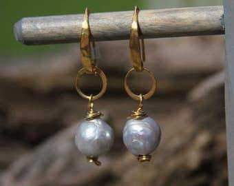 Freshwater Pearl & Vermeil Earrings - 6425-40