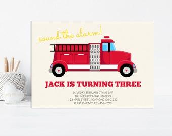 Firetruck Invitation, Firetruck Birthday, Fireman Invitation, Firetruck Party Invitation, Fire Truck, Engine, Birthday Invitation, Fireman